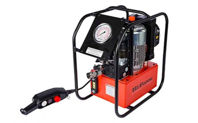 پمپ الکتریکی (برقی) هیدرولیکی 700 بار دو سرعته با شیر تنظیم فشار مدل TPE-Range ساخت هایفورس انگلستان